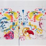 MARIO MATTO & C., COLLETTIVO N. 2, acrilico su tela libera (da environment pittorico-performativo), cm 111x82, 2001