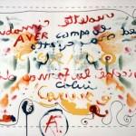MARIO MATTO & C., COLLETTIVO N. 5, acrilico su tela libera (da environment pittorico-performativo), cm 120x88, 2001
