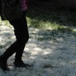 Passi di Raffaella Losapio sulla nevicata di fiori di pioppo al Casale dell'Ex Mulino - May 9, 2013
