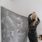 Jill Rock during installation of her exhibition - studio.ra - May 7, 2013