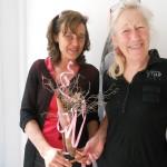onda bianca homage to Jill Rock art, eucalyptus bark, thyme twigs, pink ribbon, cupper tube may 20, 2013
