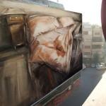 """""""Una notte con Bukowski"""" di Loredana Cacucciolo - interno 1, olio su tela, 80 x 100 cm. www.loredanacacucciolo.it,loricacucciolo@libero.it"""