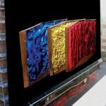 """""""Teoria e Pratica del Colore"""" - di Stefano Turrini. 3 elementi in rame carta e colori acrilici. altezza cm. 60. anno di esecuzione 1999"""