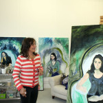 Roberta's studio with her portraits